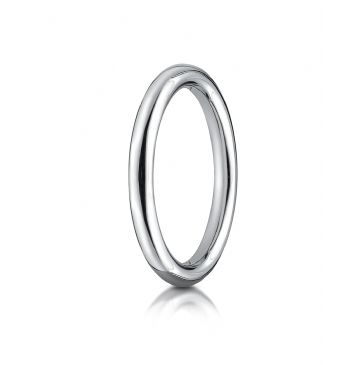 14k White Gold 2.5mm Comfort-Fit High Polished Round Carved Design Band