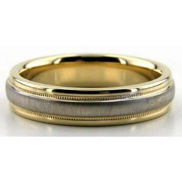 18K Gold Two Tone Milgrain 5mm Comfort Fit Wedding Bands 211