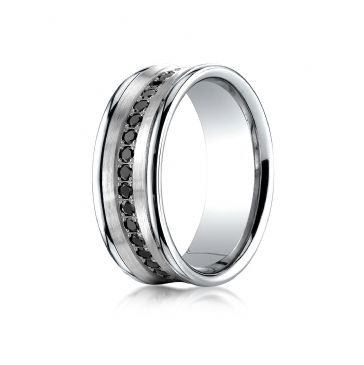 18k White Gold 7.5mm Comfort-Fit Pave Set 16-Stone Black Diamond Ring .32ct
