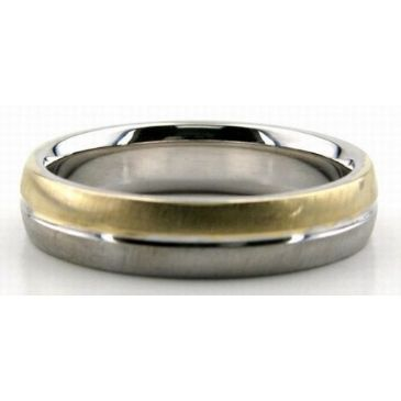 18K Gold Two Tone 5mm Wedding Bands Rings Comfort Fit 221