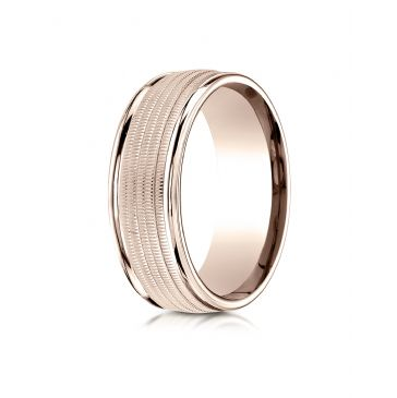 14k Rose Gold 8mm Comfort-Fit  multi milgrain center high polish round edge Design band
