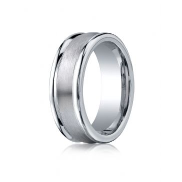 Cobaltchrome 8mm Comfort-Fit Satin-Finished Round Edge Design Ring