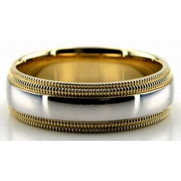 18K Gold  Two Tone Double Milgrain 6.5mm Wedding Bands 228