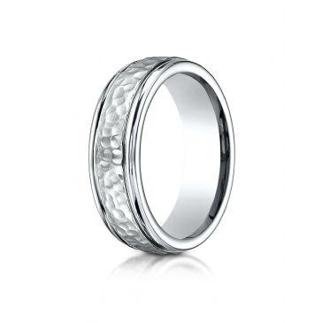 Cobaltchrome 7mm Comfort-Fit Hammered-Finished Design Ring
