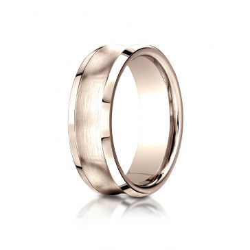14k Rose Gold 7.5mm Comfort-Fit Satin-Finished Concave beveled edge  Design Band