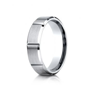 14k White Gold 6mm Comfort-Fit Satin-Finished Grooves Carved Design Band