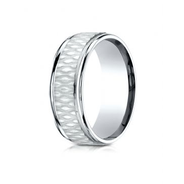 14k White Gold 8mm Comfort Fit Round Edge Patterned Design Band