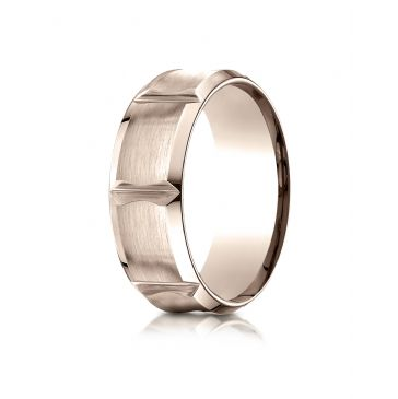 14k Rose Gold 8mm Comfort-Fit Satin-Finished Beveled Edge Concave with Horizontal Cuts Carved Design Band