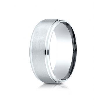 18k White Gold 8mm Comfort-Fit Satin-Finished Drop Beveled Edge Carved Design Band