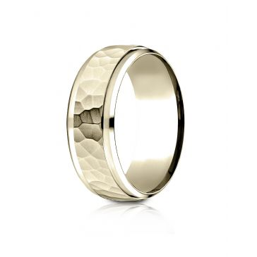 18k Yellow Gold 8mm Comfort-Fit Drop Bevel Hammered Finish Design Band