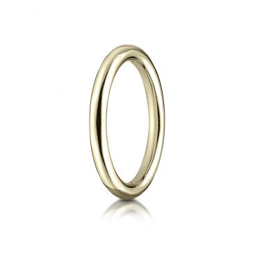 14k Yellow Gold 2.5mm Comfort-Fit High Polished Round Carved Design Band