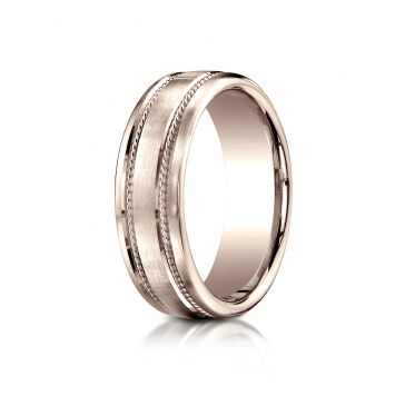 14k Rose Gold 7.5mm Comfort-Fit Satin-Finished Rope Carved Design Band