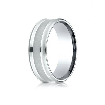 14k White Gold 7.5mm Comfort Fit Satin Finish Center Reverse Beveled Edge Design Band
