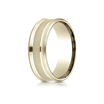 14k Yellow Gold 7.5mm Comfort Fit Satin Finish Center Reverse Beveled Edge Design Band