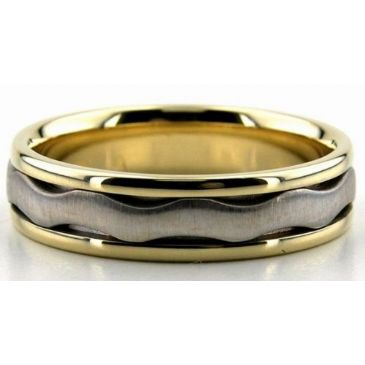 18K Gold Two Tone 6mm Wave Wedding Bands Rings Comfort Fit 222