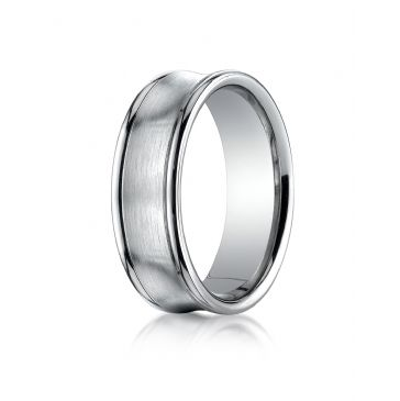 Platinum 7.5mm Comfort-Fit Satin-Finished Concave Round Edge Carved Design Band