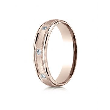 14k Rose Gold 4mm Comfort-Fit burnish Set 8-Stone Diamond Eternity Ring with Milgrain (.16ct)