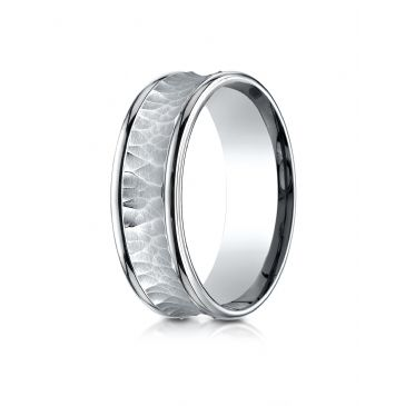 18k White Gold 7.5mm Comfort Fit Hammered Finish Concave Center Design Band