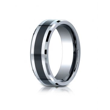Cobaltchrome7mm Comfort-Fit Ceramic Inlay Design Ring