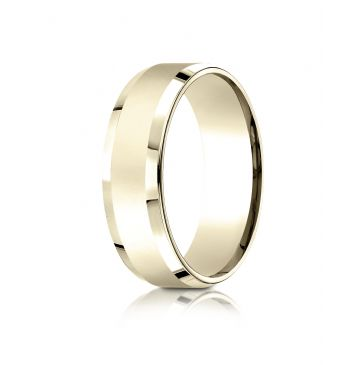 18k Yellow Gold 7mm Comfort-Fit High Polished Carved Design Band