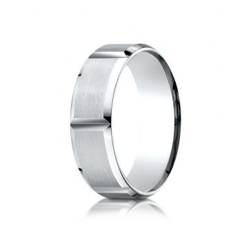 Palladium 7mm Comfort-Fit Satin-Finished Grooves Carved Design Band