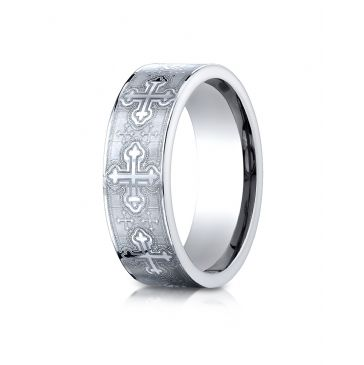 Cobaltchrome 7mm Comfort-Fit Cross Design Ring