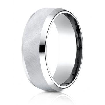 Cobaltchrome 8mm Comfort-Fit Beveled Edge Diagonal Satin Finish Design Ring