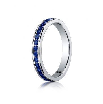 Platinum Gold 3mm Channel Set  Blue Sapphire Eternity Ring