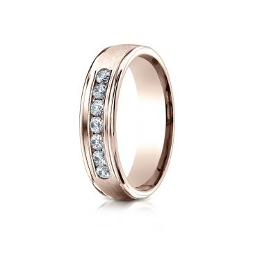 14k Rose Gold 6mm Comfort-Fit Channel Set 7-Stone Diamond Eternity Ring (.42ct)