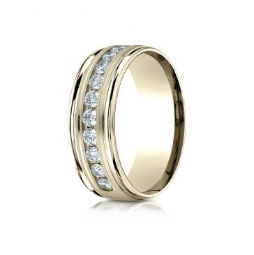 18K Yellow Gold 8mm Comfort-Fit Channel Set 12-Stone Diamond Eternity Ring (.96ct)