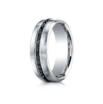 14k White Gold 7.5mm Comfort-Fit Burnish Set 20-Stone Black Diamond Ring (.40ct)