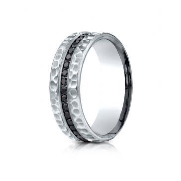 18k White Gold 7.5 mm Hammered Finish Pave Set  Black Diamond Ring (.40)
