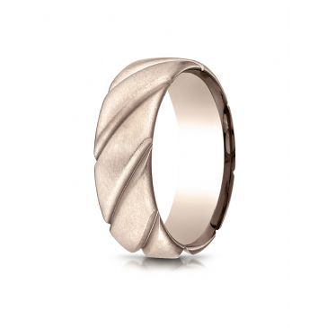 14k Rose Gold Comfort Fit Satin Finished Swirl Pattern Design Band