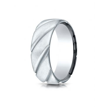18k White Gold Comfort Fit Satin Finished Swirl Pattern Design Band