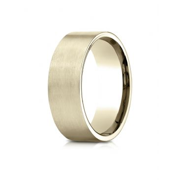 14k Yellow Gold 8mm Comfort-Fit Satin-Finished Carved Design Band