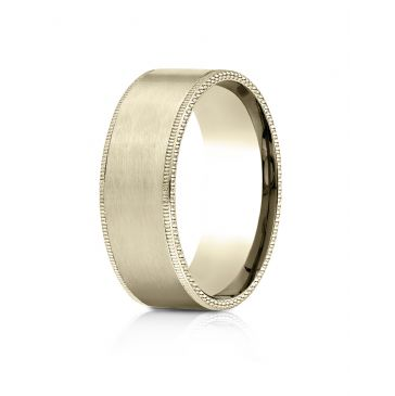 18k Yellow Gold 8mm Comfort-Fit Riveted Edge Satin Finish Design Band