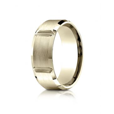 18k Yellow Gold 8mm Comfort-Fit Satin-Finished Grooves Carved Design Band