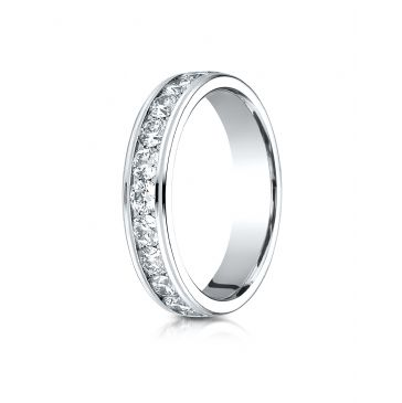 Platinum Gold 4MM Channel Set  Eternity Ring.