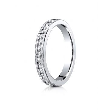 Platinum Gold 3mm Channel Set  Eternity Ring with Milgrain.