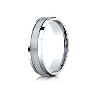 Platinum 6mm Comfort-Fit Satin-Finished High Polished Beveled Edge Carved Design Band