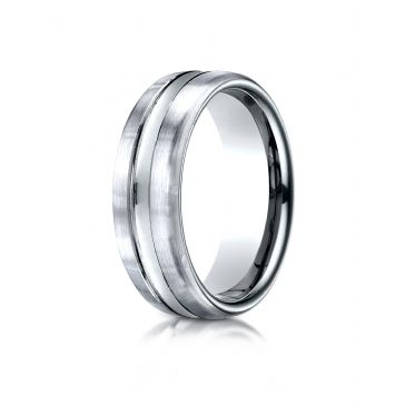 18k White Gold 7.5mm Comfort-Fit Satin-Finished High Polished Center Cut Carved Design Band
