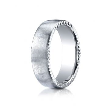 18k White Gold 7.5mm Comfort-Fit Satin-Finished Rivet Coin Edging Carved Design Band