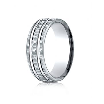 14 Karat White Gold 7.5mm Comfort-Fit Hammered Finish Double High Polish Cut Design Band