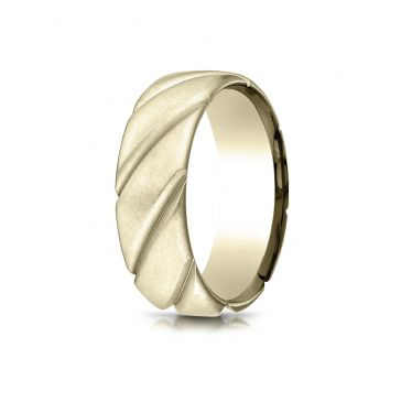 18k Yellow Gold Comfort Fit Satin Finished Swirl Pattern Design Band