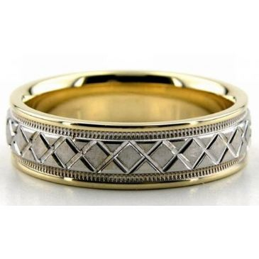 18k Gold X Style Two Tone 6mm Wedding Bands Comfort Fit 209