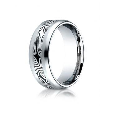 Cobaltchrome 8.0 Comfort-Fit Satin-Mokume Design Ring
