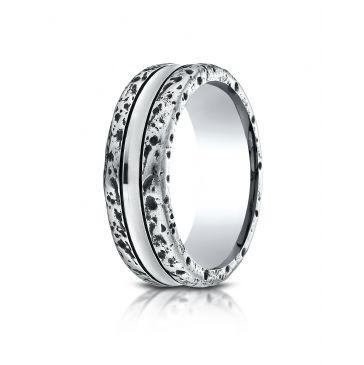 Cobaltchrome 8mm Comfort-Fit Beveled Edge Sandblasted Satin Finish Link Pattern Design Ring
