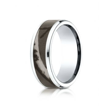 Cobaltchrome 8mm Comfort Fit Ring with hunting Camo Inlay