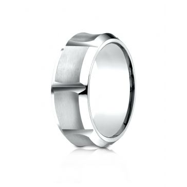 Cobaltchrome 9mm Comfort-Fit Beveled Edge Horizontal Cut Concave Satin Center  Design Ring