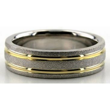 18K Gold Two Tone 6mm Double Shiny Channel Wedding Ring 207